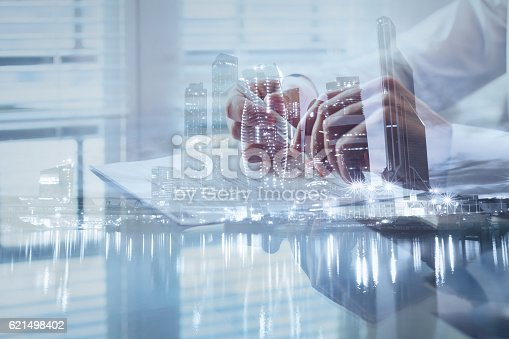 istock signing contract, double exposure 621498402