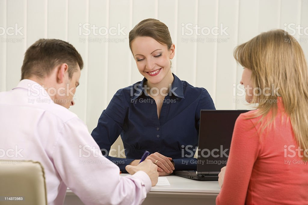 Signing contract stock photo