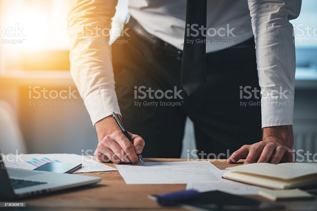 Signing contracts on the go. stock photo