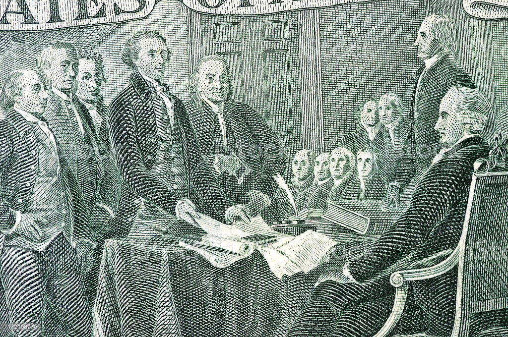 Signing Declaration of Independence stock photo