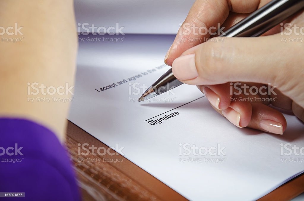 Signing document royalty-free stock photo