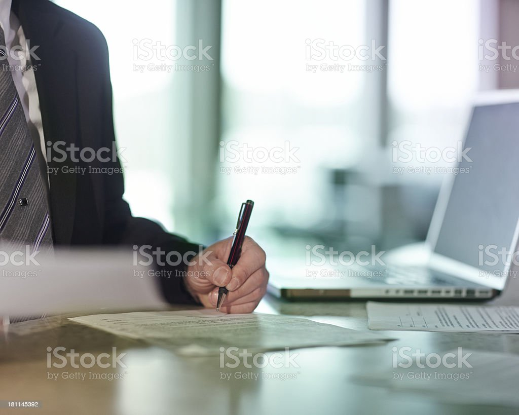 Signing Document stock photo