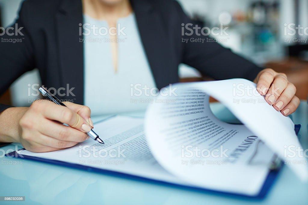 Documento de assinatura foto royalty-free