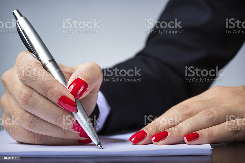 Signing documents royalty-free stock photo