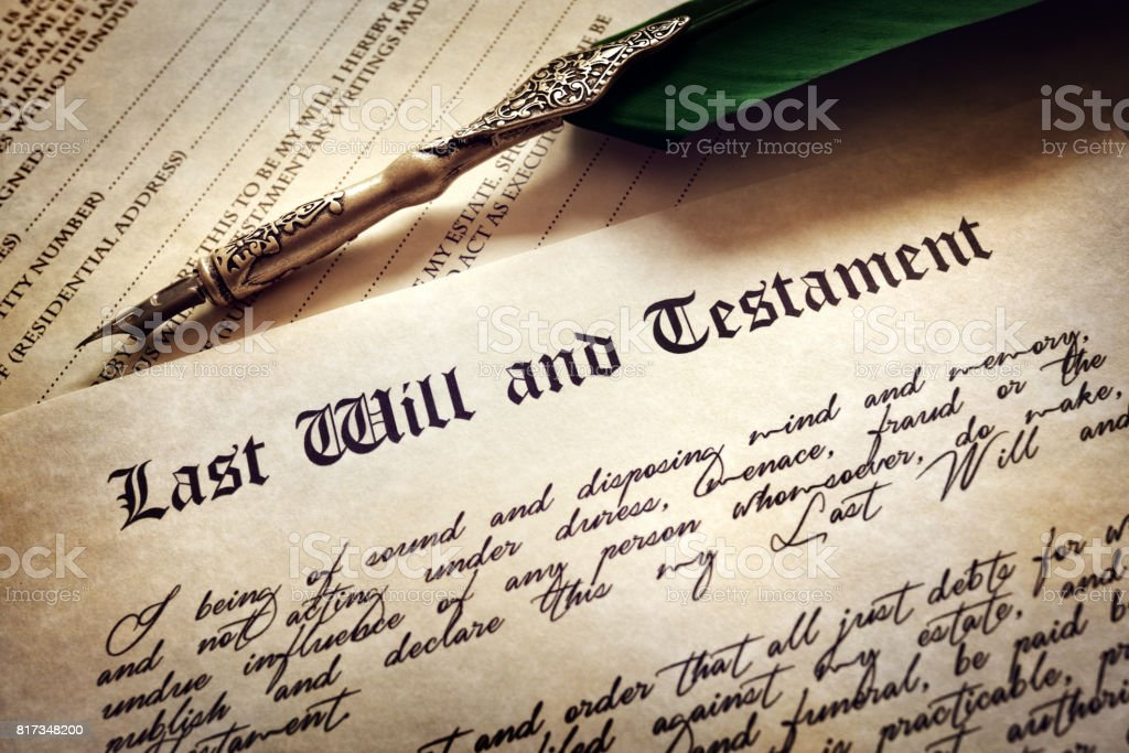 Signing Last Will and Testament stock photo