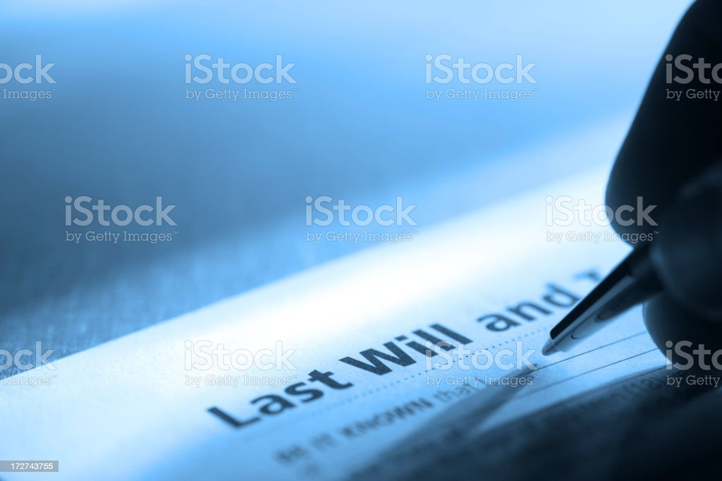 Signing Last Will & Testament royalty-free stock photo