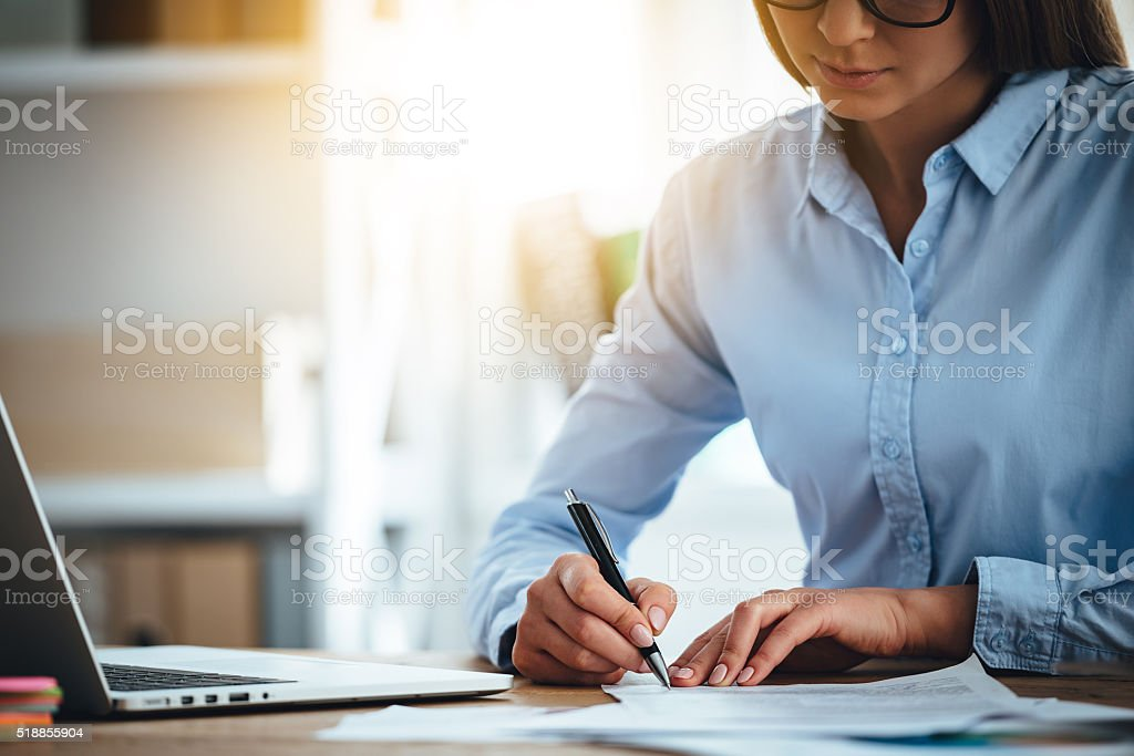 Signing new contracts. stock photo