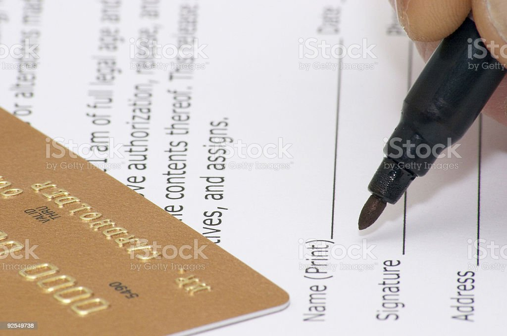 Signing of model release stock photo