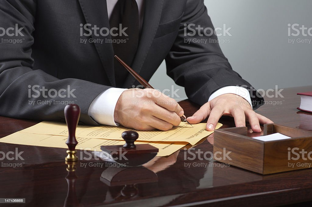 Signing testament stock photo