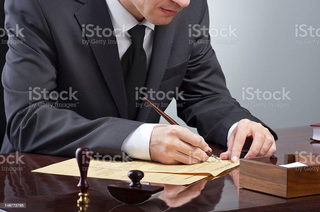 Signing testament royalty-free stock photo