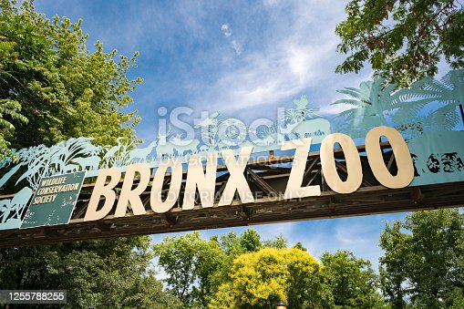 New York City, USA - May 7, 2013: View on Bronx Zoo entrance. The Bronx Zoo is located in the Bronx borough of New York City, within Bronx Park. It is one of the world's largest metropolitan zoos. With 265 acres of wildlife habitats and attractions, the Bronx Zoo is the flagship of the Wildlife Conservation Society's collection of urban wildlife parks.