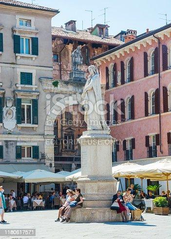 Editorial. May, 2019. Verona, Italy. Signoria Square (Piazza dei Signori) - one of the central historical squares of Verona. The Dante Monument was erected in Signoria Square in 1865