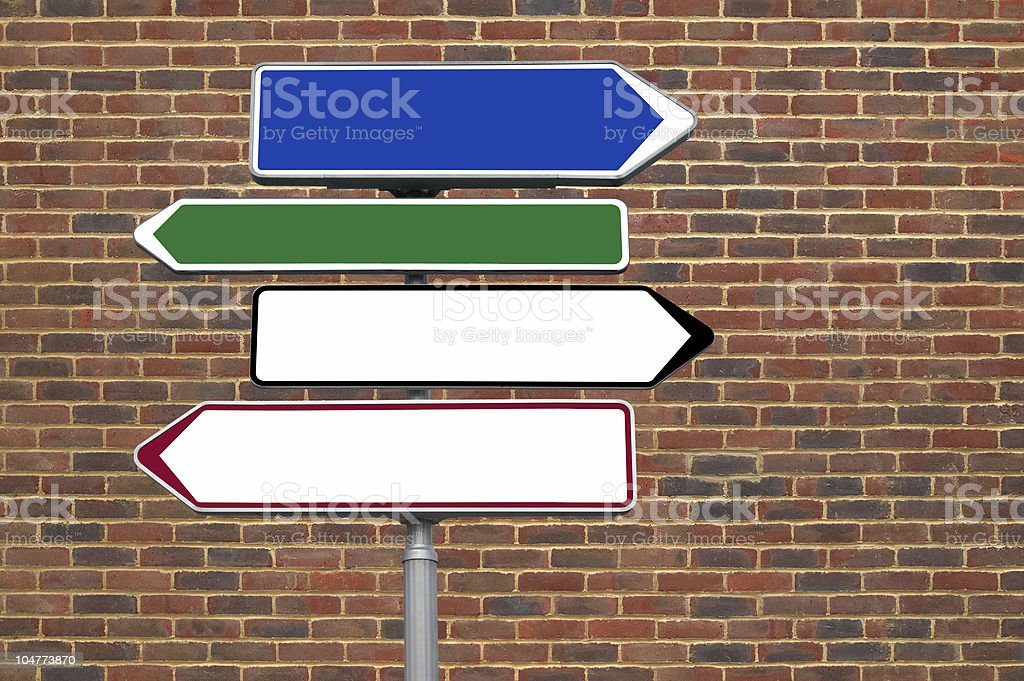 Signpost against a brick wall stock photo