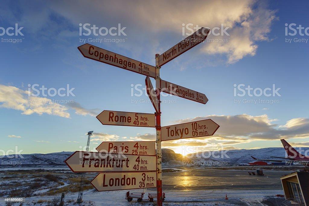 Signpost at Kangerlussuaq airport, Greenland stock photo