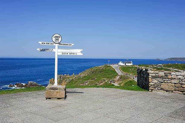 Signpost at Lands End in Cornwall, UK stock photo