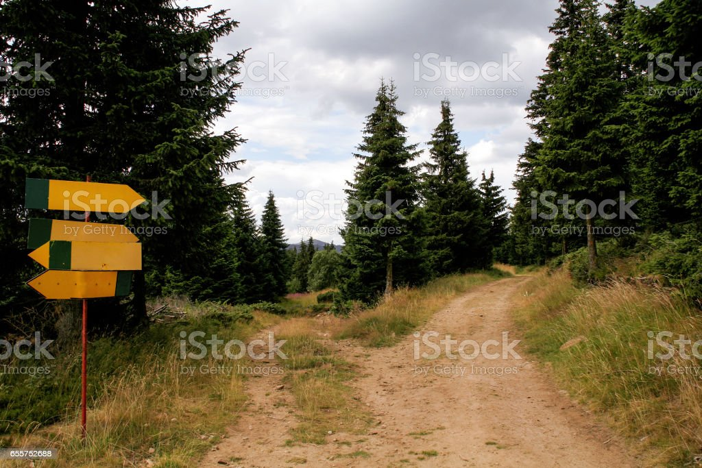 A signpost by the roadside in the nature of mountain forests. Signpost along the road in a beautiful natural environment of the forest. stock photo