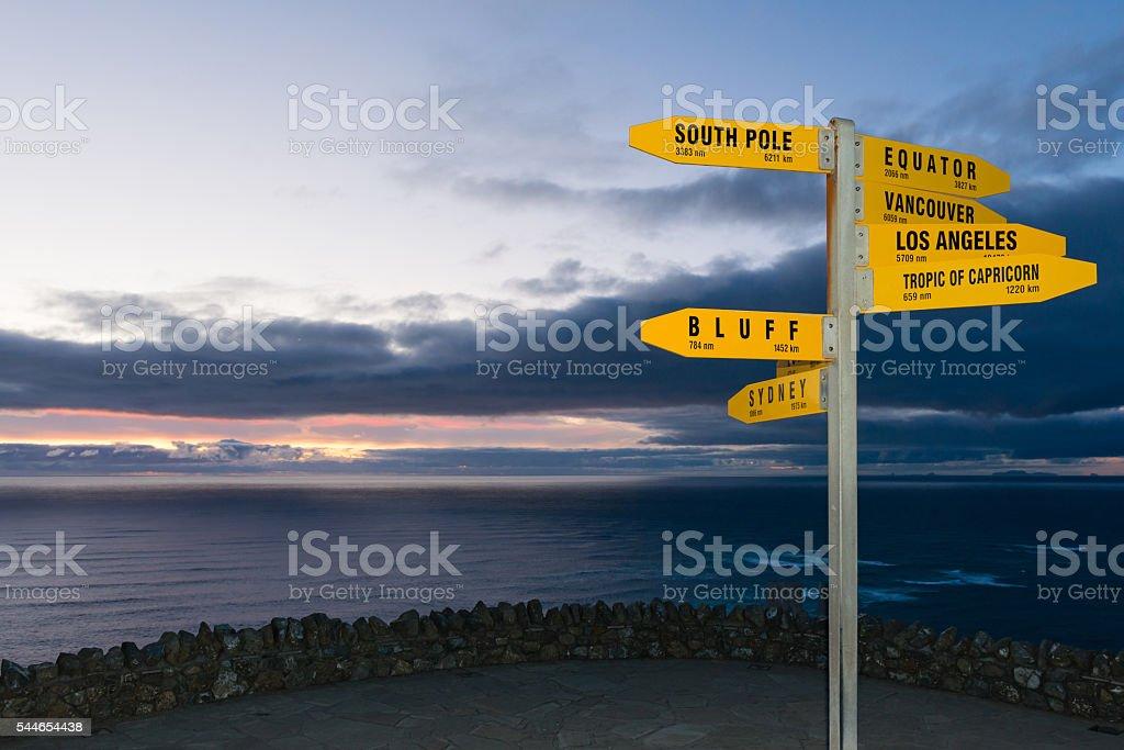 Signpost Cape Reinga, New Zealand at dusk stock photo