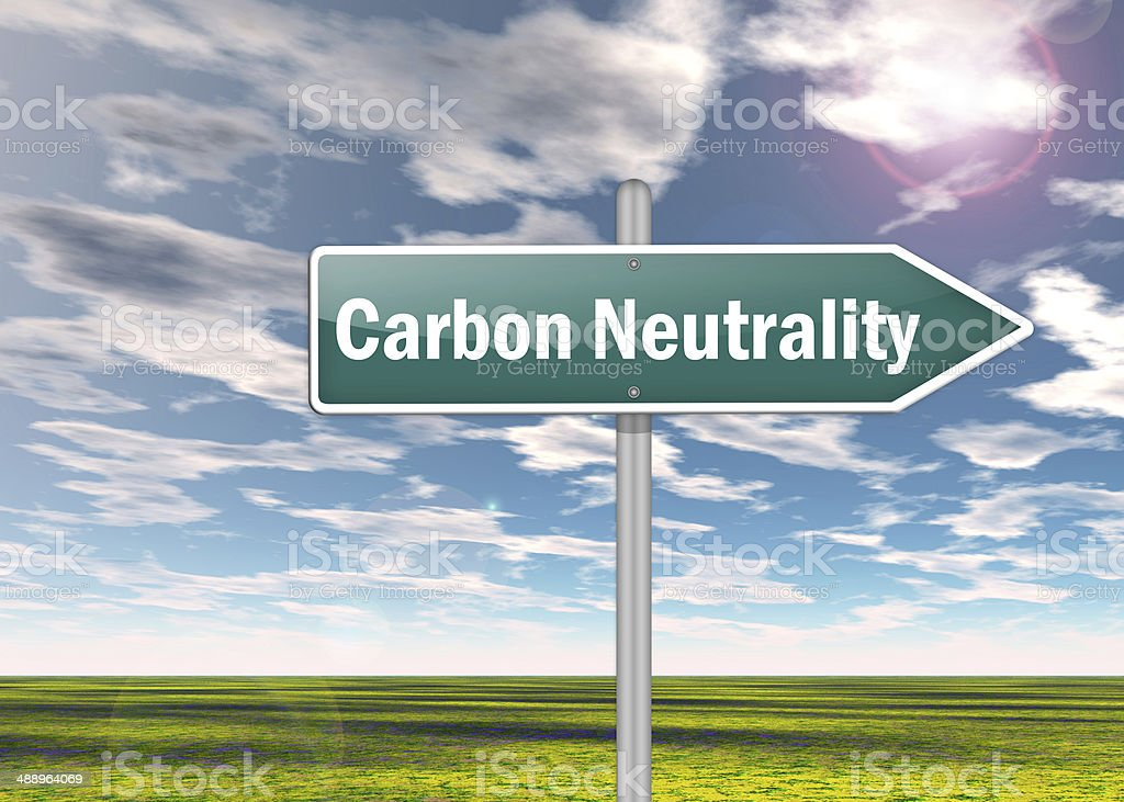 Signpost Carbon Neutrality stock photo