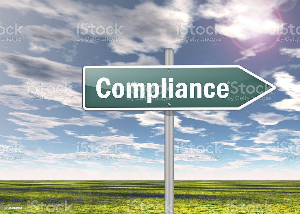 Signpost Compliance stock photo