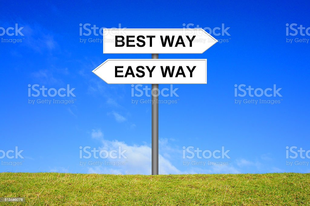 Signpost Easy or best Way stock photo