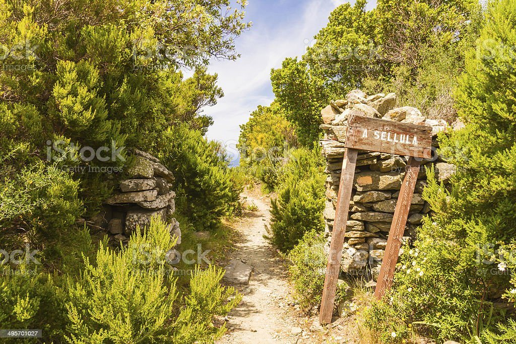 Signpost for A Sellula near Nonza in Corsica stock photo