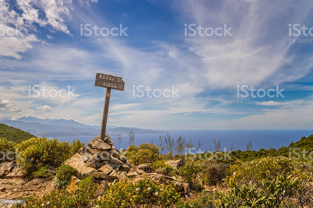 Signpost for Bocca Di Violu on Cap Corse in Corsica stock photo