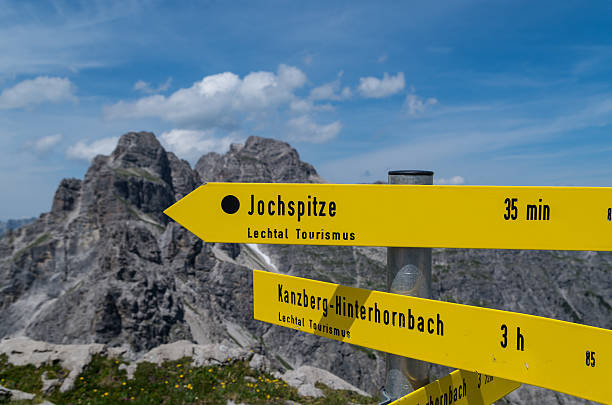 Signpost for hikers in the Allgau mountains near Oberstdorf, Germany – Foto