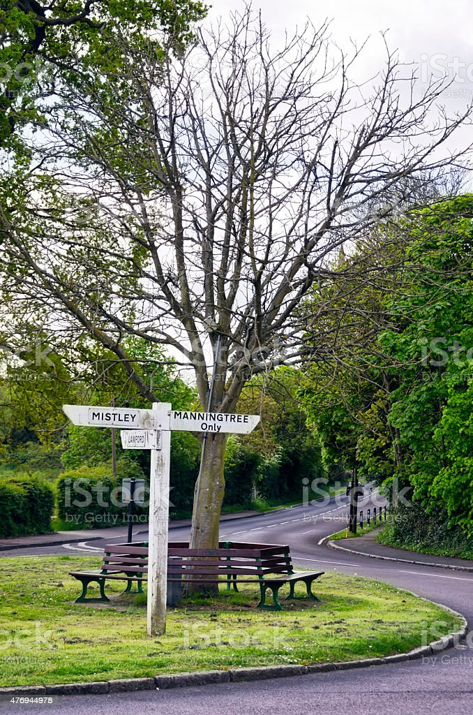 Signpost for Mistley and Manningtree, Essex stock photo