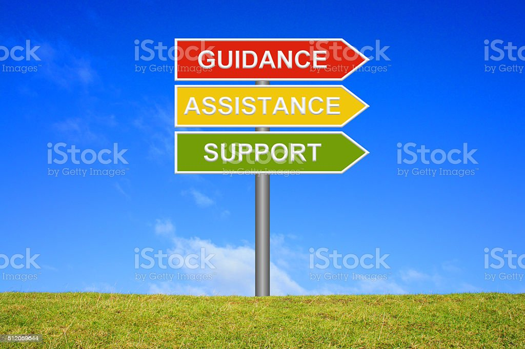 Signpost Guidance Assistance Support stock photo