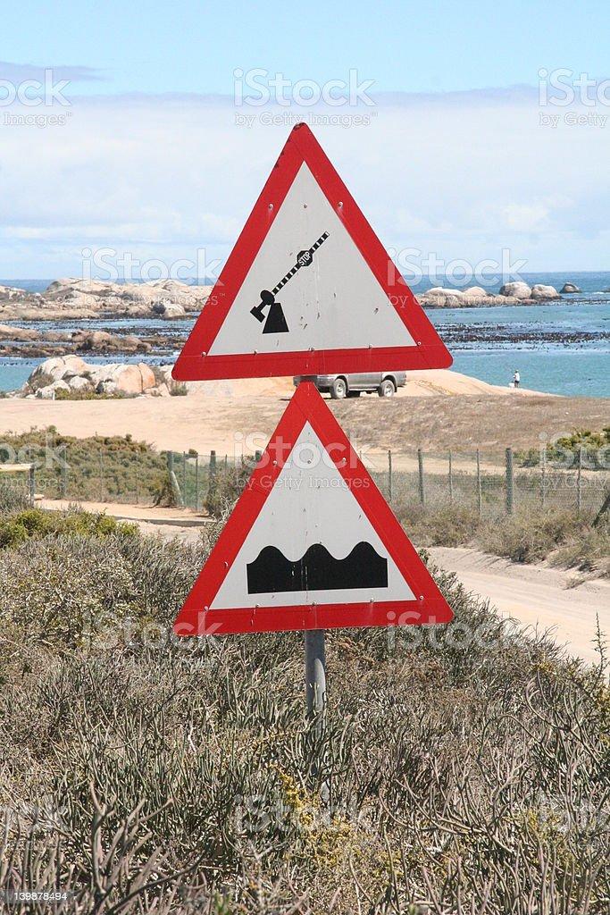 signpost - humps & boom? stock photo