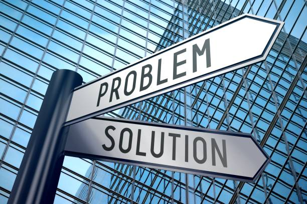 Signpost illustration, two arrows - problem and solution stock photo