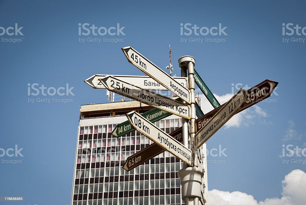 Signpost in center of Nis, Serbia stock photo