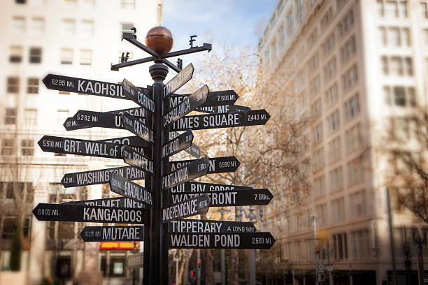 Signpost in downtown Portland stock photo