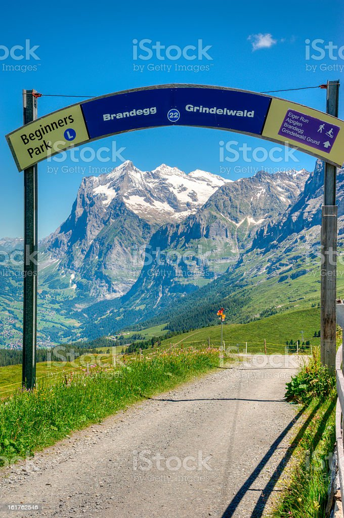 Signpost in Swiss Mountains Region at Bernese Alps royalty-free stock photo