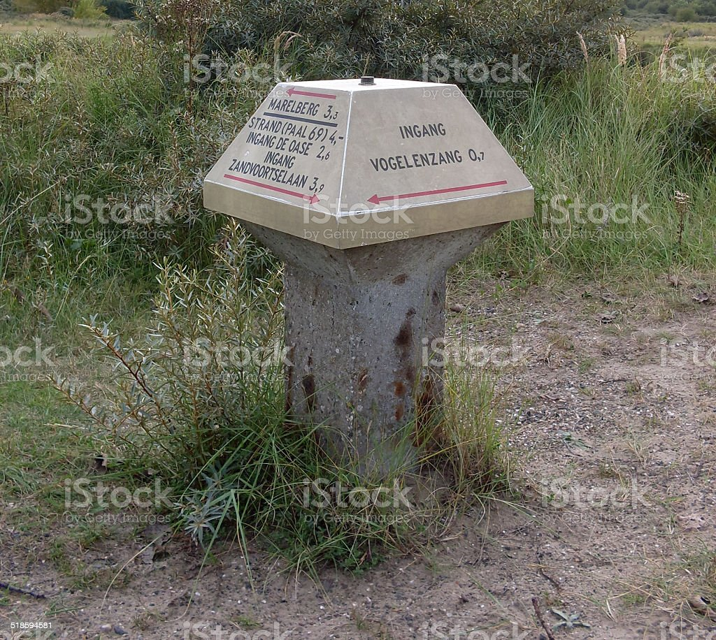 Signpost in the dune area in Holland stock photo