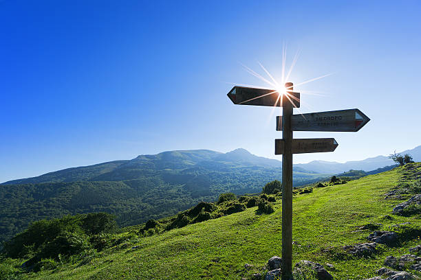 signpost in the mountain - directional sign stock photos and pictures