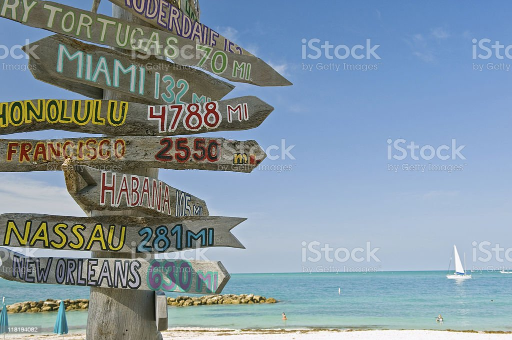 signpost on beach in key west florida stock photo
