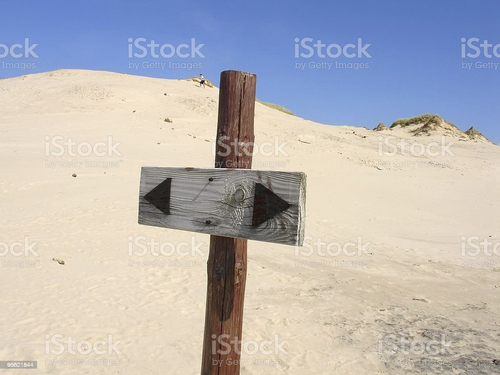 signpost on dunes royalty-free stock photo