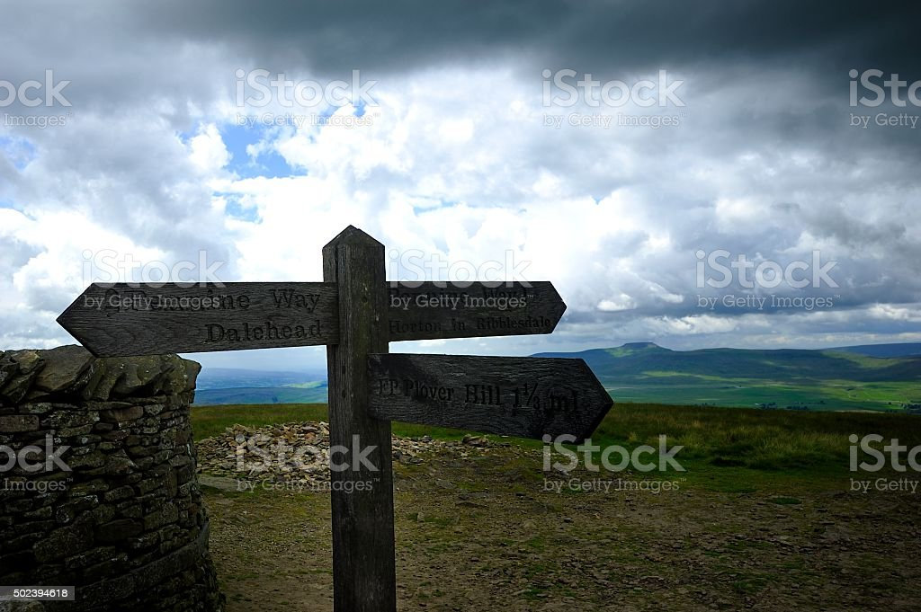 Signpost on Pen-y-ghent stock photo