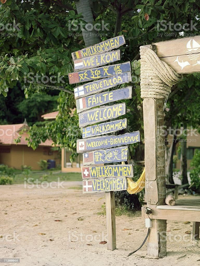 Signpost on the beach royalty-free stock photo