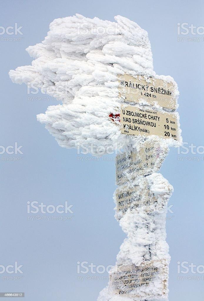 signpost on top of Kralicky Sneznik or Snieznik Klotzky stock photo