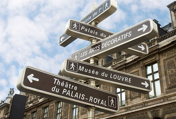 signpost  musee du louvre stock pictures, royalty-free photos & images