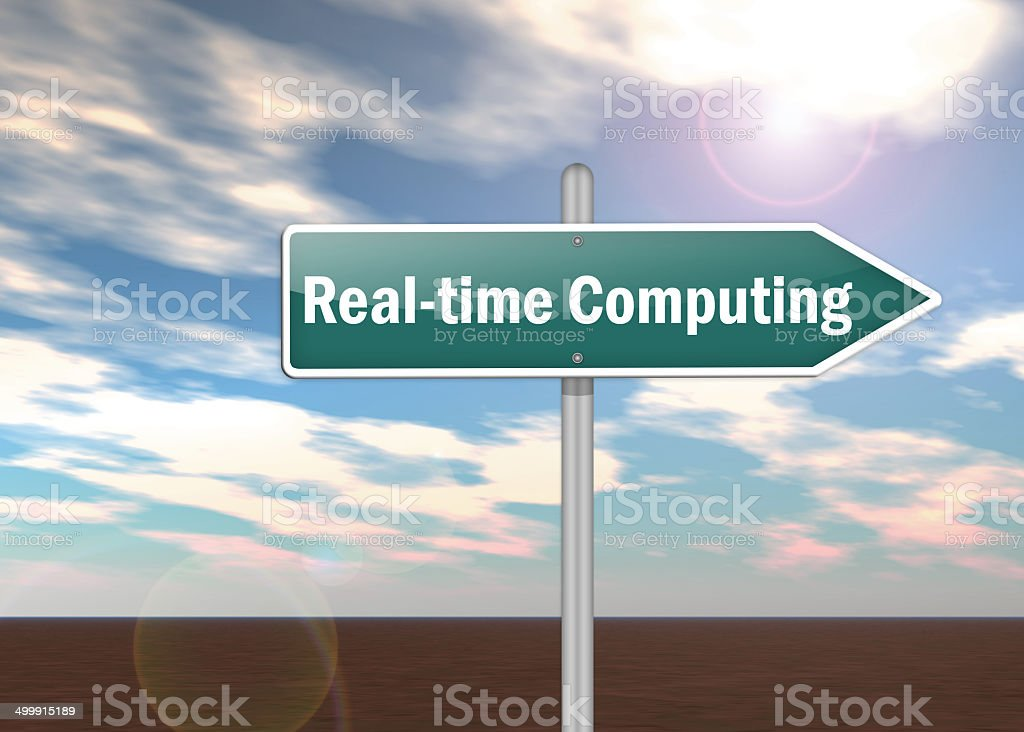 Signpost Real-time Computing stock photo