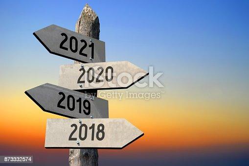 873333520 istock photo 2018/ 2019/ 2020/ 2021 - signpost/ roadsign 873332574