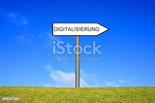 Signpost outside is showing Digitization in german language