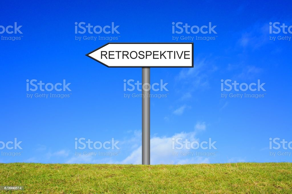 Signpost showing Retrospective german stock photo