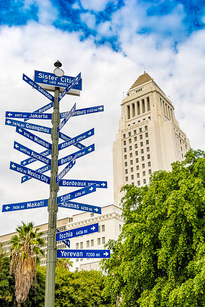 Signpost - Sister Cities of Los Angeles stock photo
