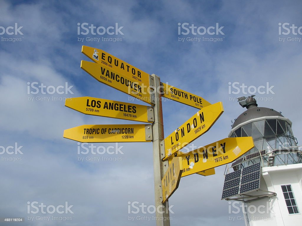Signpost to international cities at a lighthouse in new zealand stock photo