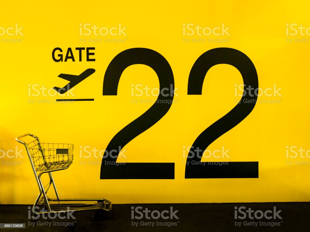Signpost to the departure gate stock photo