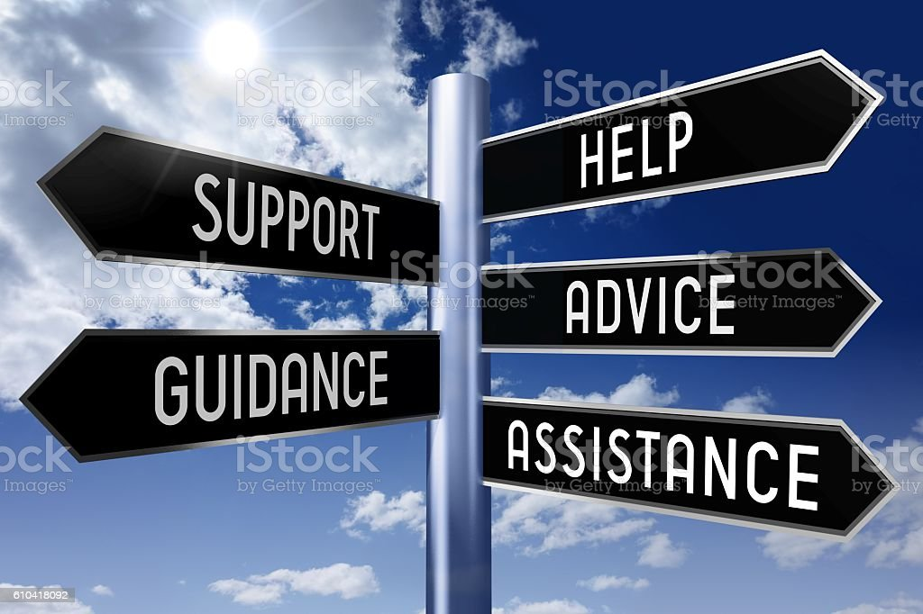 Signpost with 5 arrows - customer support stock photo